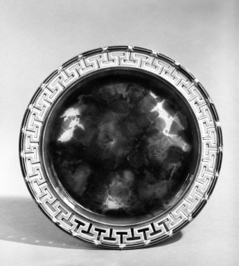 Josiah Wedgwood & Sons Ltd. (founded 1759). <em>Plate</em>, ca. 1867. Earthenware, tortoise shell glaze, 8 3/4 in. (22.2 cm). Brooklyn Museum, Gift of John M. Schreiber in memory of Marc L. Rasbach, Jr., 72.183.4. Creative Commons-BY (Photo: Brooklyn Museum, 72.183.4_bw.jpg)