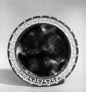 Josiah Wedgwood & Sons Ltd. (founded 1759). <em>Plate</em>, 1867. Earthenware, tortoise shell glaze, Diam.: 8 1/2 in. (21.6 cm). Brooklyn Museum, Gift of John M. Schreiber in memory of Marc L. Rasbach, Jr., 72.183.5. Creative Commons-BY (Photo: Brooklyn Museum, 72.183.5_bw.jpg)