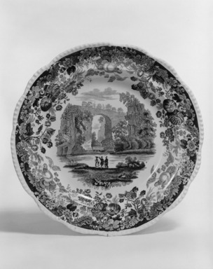 "Enoch Wood & Sons (active 1818-1846). <em>Plate, ""Natural Bridge, Virginia,""</em> ca. 1840. Earthenware, 9 3/16 x 9 3/16 in. (23.3 x 23.3 cm). Brooklyn Museum, Gift of Mrs. Ben P. Grant in memory of Dr. and Mrs. Henry Fleming Payne, 72.184.11. Creative Commons-BY (Photo: Brooklyn Museum, 72.184.11_bw.jpg)"