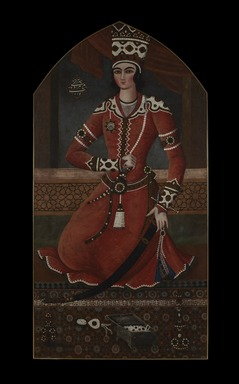 Attributed to Muhammad Hasan (Persian, active 1808-1840). <em>Prince Yahya</em>, ca. 1830s. Oil on canvas, 67 x 35 in. (170.2 x 88.9 cm). Brooklyn Museum, Gift of Mr. and Mrs. Charles K. Wilkinson, 72.26.5 (Photo: , 72.26.5_PS11.jpg)