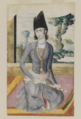 <em>Seated Qajar Prince</em>, late 18th-19th century. Pencil and opaque watercolor on paper, 11 1/2 x 7 in. (29.2 x 17.8 cm). Brooklyn Museum, Gift of Mr. and Mrs. Charles K. Wilkinson, 72.26.6 (Photo: Brooklyn Museum, 72.26.6_IMLS_PS3.jpg)