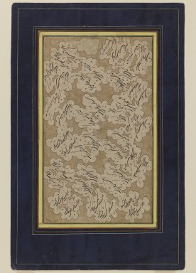<em>Calligraphy</em>, 18th century. Ink and gold on cardboard, 8 1/16 x 12 3/8 in. (20.5 x 31.4 cm). Brooklyn Museum, Gift of Mr. and Mrs. Charles K. Wilkinson, 72.26.7 (Photo: Brooklyn Museum, 72.26.7_IMLS_PS3.jpg)