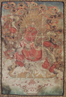 <em>Wrathful Deity</em>, late 18th-19th century. Hanging scroll, gouache on linen, 9 1/2 x 6 1/2 in. (24.1 x 16.5 cm). Brooklyn Museum, Gift of William Nowell, 72.28 (Photo: Image courtesy of the Shelley and Donald Rubin Foundation, George Roos,er, 72.28.jpg)