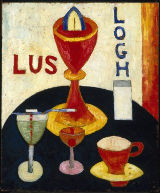 Marsden Hartley (American, 1877-1943). <em>Handsome Drinks</em>, 1916. Oil on composition board, 24 x 20 in. (61 x 50.8 cm). Brooklyn Museum, Gift of Mr. and Mrs. Milton Lowenthal, 72.3 (Photo: Brooklyn Museum, 72.3_SL1.jpg)