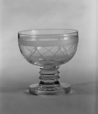 "Steuben Glass, a division of Corning Glass Works, 1903-2011. <em>Cocktail Glass, ""St Tropez,"" Part of Nine-Piece Setting</em>, ca.1933. Glass, 3 1/2 x 3 1/2 x 3 1/2 in. (8.9 x 8.9 x 8.9 cm). Brooklyn Museum, H. Randolph Lever Fund, 72.40.19. Creative Commons-BY (Photo: Brooklyn Museum, 72.40.19_bw.jpg)"