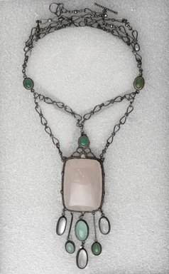 Charles D. Price. <em>Necklace with Pendant</em>, ca. 1933. Silver, quartz, moonstones, L: 13 3/4 in. (34.9 cm). Brooklyn Museum, H. Randolph Lever Fund, 72.40.1. Creative Commons-BY (Photo: Brooklyn Museum, 72.40.1_PS9.jpg)