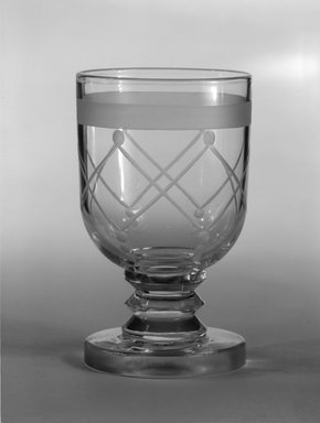 "Steuben Glass, a division of Corning Glass Works, 1903-2011. <em>Wine Glass, ""St. Tropez,""  Part of Nine-Piece Setting</em>, ca.1933. Glass, 3 7/8 x 2 1/4 x 2 1/4 in. (9.8 x 5.7 x 5.7 cm). Brooklyn Museum, H. Randolph Lever Fund, 72.40.20. Creative Commons-BY (Photo: Brooklyn Museum, 72.40.20_bw.jpg)"