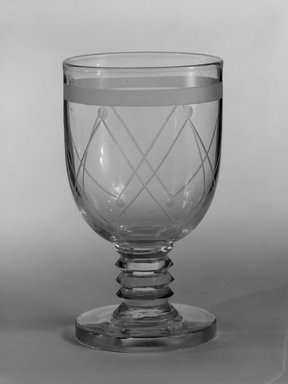 "Steuben Glass, a division of Corning Glass Works, 1903-2011. <em>Goblet, ""St. Tropez,""  Part of Nine-Piece Setting</em>, ca. 1933. Glass, 5 5/8 x 3 1/8 x 3 1/8 in. (14.3 x 7.9 x 7.9 cm). Brooklyn Museum, H. Randolph Lever Fund, 72.40.21. Creative Commons-BY (Photo: Brooklyn Museum, 72.40.21_bw.jpg)"
