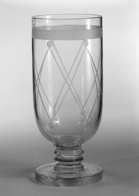 """Steuben Glass, a division of Corning Glass Works, 1903-2011. <em>Goblet, """"St Tropez,""""  Part of Nine-Piece Setting</em>, ca. 1933. Glass, 6 3/4 x 2 7/8 x 2 7/8 in. (17.1 x 7.3 x 7.3 cm). Brooklyn Museum, H. Randolph Lever Fund, 72.40.22. Creative Commons-BY (Photo: Brooklyn Museum, 72.40.22_bw.jpg)"""