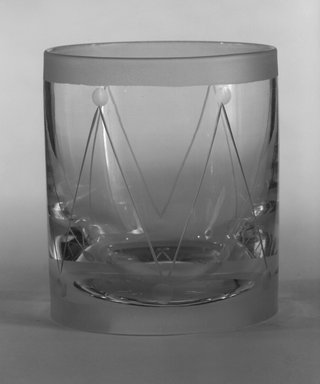 "Steuben Glass, a division of Corning Glass Works, 1903-2011. <em>Double Old Fashioned Glass, ""St Tropez,""  Part of Nine-Piece Setting</em>, ca.1933. Glass, 3 1/2 x 3 x 3 in. (8.9 x 7.6 x 7.6 cm). Brooklyn Museum, H. Randolph Lever Fund, 72.40.24. Creative Commons-BY (Photo: Brooklyn Museum, 72.40.24_bw.jpg)"