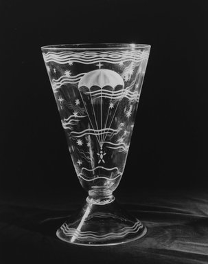 Walter Dorwin Teague (American, 1883-1960). <em>Vase</em>, ca.1933. Glass, 12 3/16 x 7 1/4 x 7 1/4 in. (31 x 18.4 x 18.4 cm). Brooklyn Museum, H. Randolph Lever Fund, 72.40.5. Creative Commons-BY (Photo: Brooklyn Museum, 72.40.5_bw.jpg)