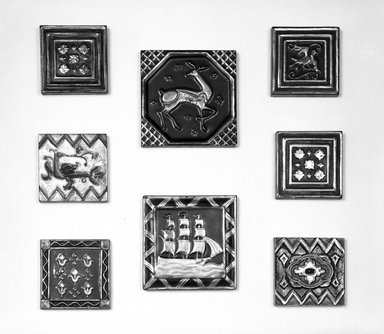 American Encaustic Tile Company Ltd. (1875-1935). <em>Tile</em>, ca. 1928. Glazed earthenware, 6 x 6 x 5/8 in. (15.2 x 15.2 x 1.6 cm). Brooklyn Museum, H. Randolph Lever Fund, 72.40.8. Creative Commons-BY (Photo: , 72.40.7-.14_bw.jpg)