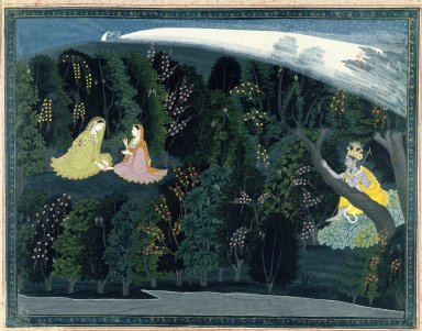 "Indian. <em>Krishna Gazes Longingly at Radha, Page from the ""Lumbagraon Gita Govinda"" Series</em>, ca. 1820-1825. Opaque watercolor and gold on paper, sheet: 11 1/8 x 14 3/8 in.  (28.3 x 36.5 cm). Brooklyn Museum, Designated Purchase Fund, 72.43 (Photo: Brooklyn Museum, 72.43_IMLS_SL2.jpg)"