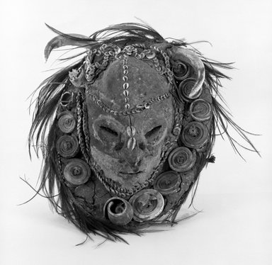 <em>Poro Polo Mask</em>. Clay, basket weave Brooklyn Museum, Gift of David R. Markin, 72.49.5. Creative Commons-BY (Photo: Brooklyn Museum, 72.49.5_bw.jpg)
