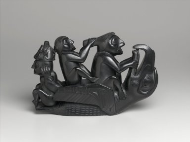 Haida. <em>Figural Group: Raven Surmounted by Three Seated Figures</em>, 1860-1880. Argillite, 10 x 15 1/2 x 3 3/4 in. (25.4 x 39.4 x 9.5 cm). Brooklyn Museum, By exchange, 72.5.1. Creative Commons-BY (Photo: Brooklyn Museum, 72.5.1_PS1.jpg)