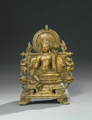 <em>Seated Bodhisattva Lokeshvara</em>, 10th century. Bronze, 5 1/2 x 4 1/4 x 3 in. (14 x 10.8 x 7.6 cm). Brooklyn Museum, Purchased with funds given by Mr. and Mrs. Richard Shields, 72.55. Creative Commons-BY (Photo: Brooklyn Museum, 72.55_SL1.jpg)