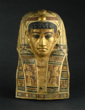 <em>Mummy Mask of a Man</em>, early 1st century C.E. Stucco, gold leaf, pigment, 20 x 12 x 7 1/4 in., 7.5 lb. (50.8 x 30.5 x 18.4 cm, 3.4kg). Brooklyn Museum, Charles Edwin Wilbour Fund, 72.57. Creative Commons-BY (Photo: Brooklyn Museum, 72.57_SL1.jpg)