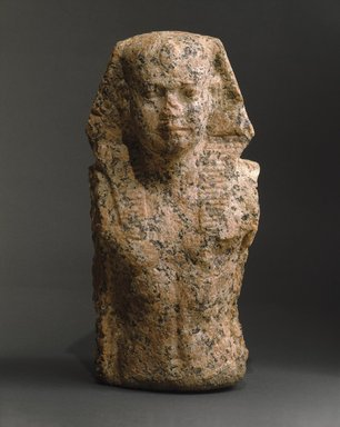 <em>Head and Torso of a King</em>, ca. 2455-2425 B.C.E. Granite, 13 3/8 x 6 3/8 x 5 9/16 in. (34 x 16.2 x 14.1 cm). Brooklyn Museum, Charles Edwin Wilbour Fund, 72.58. Creative Commons-BY (Photo: Brooklyn Museum, 72.58_SL1.jpg)