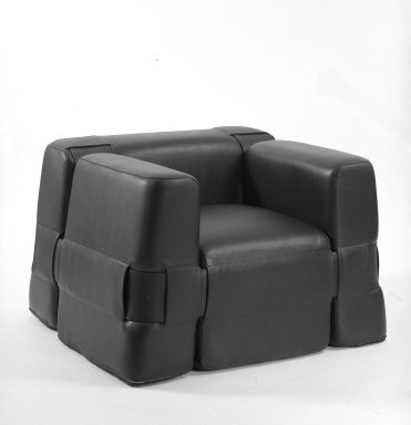 <em>Two-Arm Chair</em>, ca. 1967. Leather, ponyskin, 23 1/2 x 32 1/2 x 32 in. (59.7 x 82.6 x 81.3 cm). Brooklyn Museum, Gift of Atelier International, Ltd., 72.62.6. Creative Commons-BY (Photo: Brooklyn Museum, 72.62.6_bw.jpg)