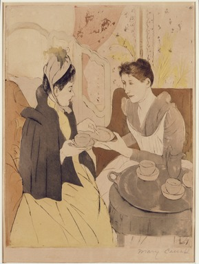 Mary Cassatt (American, 1844-1926). <em>Afternoon Tea Party</em>, 1891. Drypoint and aquatint in color on wove paper, Sheet: 18 3/4 x 12 in. (47.6 x 30.5 cm). Brooklyn Museum, Frank L. Babbott Fund and Bristol-Myers Fund, 72.7 (Photo: Brooklyn Museum, 72.7_SL3.jpg)