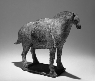<em>Pack Horse</em>. Clay, ceramic, 5 11/16 x 7 1/2 in. (14.5 x 19 cm). Brooklyn Museum, Gift of Arthur J. Waterman Jr., 72.92.1. Creative Commons-BY (Photo: Brooklyn Museum, 72.92.1_bw.jpg)