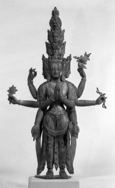<em>Eleven-Headed Avalokiteshvara</em>, 17th century with later additions. Polychromed wood, metal, 25 1/2 x 15 x 5 in. (64.8 x 38.1 x 12.7 cm). Brooklyn Museum, Designated Purchase Fund, 72.94. Creative Commons-BY (Photo: Brooklyn Museum, 72.94_front_view1_bw.jpg)