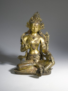 <em>Tara</em>, 16th century. Gilded bronze, polychrome, semiprecious stones, height approx.: 13 3/4 in. (35.0 cm). Brooklyn Museum, Frank L. Babbott Fund, 72.95. Creative Commons-BY (Photo: Brooklyn Museum, 72.95_front_PS4.jpg)