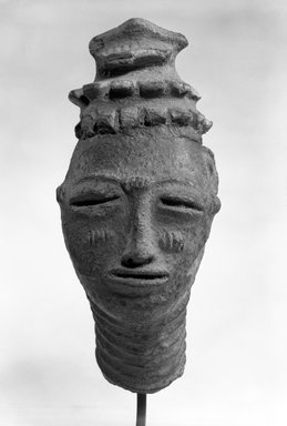 Anyi. <em>Head</em>, 17th or 18th century. Terracotta, 12 1/4 in. (31.0 cm). Brooklyn Museum, Gift of Mr. and Mrs. John A. Friede, 73.107.11. Creative Commons-BY (Photo: Brooklyn Museum, 73.107.11_bw.jpg)