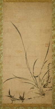 Gyokuen Bompo (Japanese, 1348-1420). <em>Kakemono: Orchids, Bamboo, and Thorns - Right panel</em>, late 14th-early 15th century. Ink on Korean paper, Image: 25 x 12 1/4 in. (63.5 x 31.1 cm). Brooklyn Museum, Gift of The Roebling Society, 73.123.1 (Photo: Brooklyn Museum, 73.123.1_SL1.jpg)
