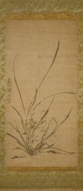 Gyokuen Bompo (Japanese, 1348-1420). <em>Kakemono: Orchids, Bamboo, and Thorns - Left panel</em>, late 14th-early 15th century. Ink on Korean paper, Exclusive of mounting: 25 x 12 1/4 in. (63.5 x 31.1 cm). Brooklyn Museum, Asian Art Acquistion Fund, 73.123.2 (Photo: Brooklyn Museum, 73.123.2_IMLS_SL2.jpg)