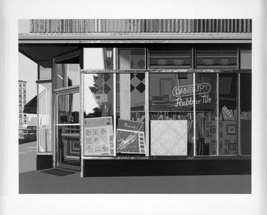 Richard Estes (American, born 1932). <em>Danbury Tiles</em>, 1972. Screenprint, Image: 14 7/8 x 20 in. (37.8 x 50.8 cm). Brooklyn Museum, 73.12. © artist or artist's estate (Photo: Brooklyn Museum, 73.12_bw.jpg)
