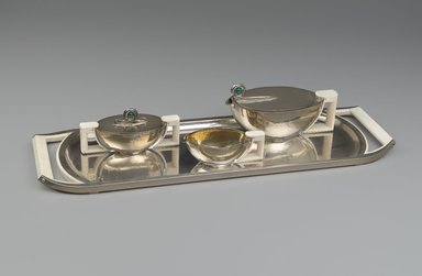 Wolfers Frères (1880-1942). <em>Sugar Bowl with Cover</em>, 1936. Silver, ivory, length: 6 1/2 in. Brooklyn Museum, Purchased with funds given by an anonymous donor, 73.13.4a-b. Creative Commons-BY (Photo: , 73.13.1_73.13.2_73.13.3_73.13.4_PS6.jpg)