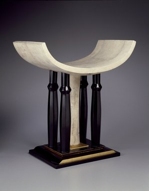 Pierre Legrain (French, 1889-1929). <em>Stool (Tabouret)</em>, ca. 1923. Wood, shagreen (likely ray skin), laquer, gilding, 22 × 21 × 12 in. (55.9 × 53.3 × 30.5 cm). Brooklyn Museum, Purchased with funds given by an anonymous donor, 73.142. Creative Commons-BY (Photo: Brooklyn Museum, 73.142_threequarter_SL3.jpg)