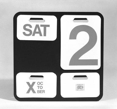 Enzo Mari (Italian, 1932-2020). <em>Calendar</em>, ca.1971 (designed 1963). Metal, plastic, Back: 12 3/8 x 12 3/8 in. (31.4 x 31.4 cm). Brooklyn Museum, Gift of Bernard X. Wolff, 73.143. Creative Commons-BY (Photo: Brooklyn Museum, 73.143_bw.jpg)