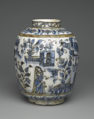 <em>Vase with Architectural, Figural, and Floral Designs</em>, 19th century. Ceramic; fritware, painted in black, cobalt blue, and green under a transparent glaze, 13 1/4 x 11 in. (33.6 x 28 cm). Brooklyn Museum, Designated Purchase Fund, 73.144.2. Creative Commons-BY (Photo: Brooklyn Museum, 73.144.2_side1_PS2.jpg)