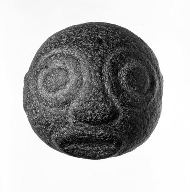 <em>Stone Face</em>, late 19th or early 20th century. Stone, circumference:  9 in. (22.9 cm). Brooklyn Museum, Gift of Dr. and Mrs. Abbott A. Lippman, 73.154.3. Creative Commons-BY (Photo: Brooklyn Museum, 73.154.3_bw.jpg)