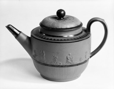 Samuel Hollins. <em>Teapot and Cover</em>, ca. 1774-1790. Bisque molded earthenware, enamel, 5 5/8 x 8 1/2 in. (14.3 x 21.6 cm). Brooklyn Museum, Gift of Mrs. George Backer, 73.16.1a-b. Creative Commons-BY (Photo: Brooklyn Museum, 73.16.1a-b_bw.jpg)