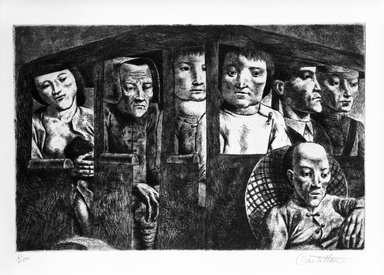 Federico Castellon (American, born Spain, 1914-1971). <em>Kunming Bus (from China Portfolio)</em>, after 1945. Etching and aquatint, Sheet: 12 5/16 x 15 in. (31.3 x 38.1 cm). Brooklyn Museum, Gift of Leon Pomerance, 73.160.1a. © artist or artist's estate (Photo: Brooklyn Museum, 73.160.1a_bw.jpg)