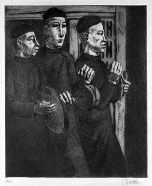 Federico Castellon (American, born Spain, 1914-1971). <em>Funeral Music (from China Portfolio)</em>, after 1945. Etching and aquatint, Sheet: 15 x 12 3/8 in. (38.1 x 31.4 cm). Brooklyn Museum, Gift of Leon Pomerance, 73.160.1d. © artist or artist's estate (Photo: Brooklyn Museum, 73.160.1d_bw.jpg)