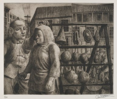 Federico Castellon (American, born Spain, 1914-1971). <em>Meat on Sale (from China Portfolio)</em>, after 1945. Etching and aquatint, Sheet: 12 3/8 x 15 in. (31.4 x 38.1 cm). Brooklyn Museum, Gift of Leon Pomerance, 73.160.1e. © artist or artist's estate (Photo: Brooklyn Museum, 73.160.1e_PS4.jpg)