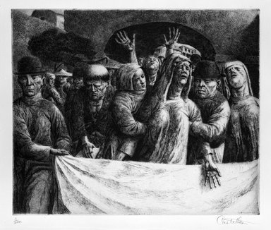 Federico Castellon (American, born Spain, 1914-1971). <em>The Bereaved (from China Portfolio)</em>, after 1945. Etching and aquatint, Sheet: 12 5/8 x 14 7/8 in. (32.1 x 37.8 cm). Brooklyn Museum, Gift of Leon Pomerance, 73.160.1h. © artist or artist's estate (Photo: Brooklyn Museum, 73.160.1h_bw.jpg)