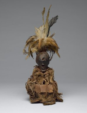 Songye. <em>Power Figure (Nkishi)</em>, late 19th or early 20th century. Wood, hide, fur, fabric, feathers, pigment, 13 in. (33 cm). Brooklyn Museum, Gift of Gaston T. de Havenon, 73.179.13. Creative Commons-BY (Photo: Brooklyn Museum, 73.179.13_front_PS6.jpg)