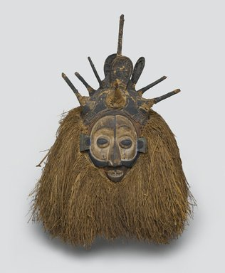 Yaka. <em>Ndeemba Mask for N-khanda Initiation</em>, early 20th century. Wood, fiber, pigment, 20 x 14 3/4 x 14 1/2 in. (50.8 x 37.5 x 36.8 cm). Brooklyn Museum, Gift of Gaston T. de Havenon, 73.179.3. Creative Commons-BY (Photo: Brooklyn Museum, 73.179.3_PS2.jpg)