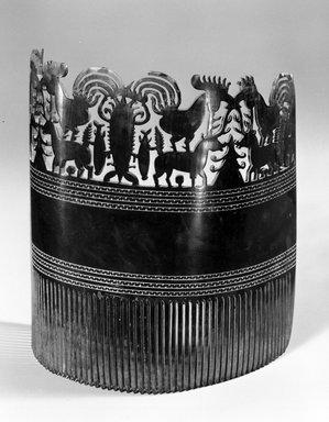 <em>Tortoise Shell Openwork Comb</em>. Tortoise shell, 5 1/8 x 2 3/8 x 5 7/8 in. (13 x 6 x 15 cm). Brooklyn Museum, Gift of John Hewitt, 73.181. Creative Commons-BY (Photo: Brooklyn Museum, 73.181_bw.jpg)