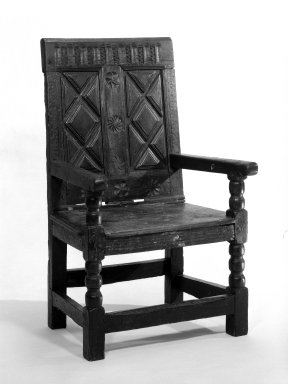 <em>Wainscot Armchair</em>, ca. 1600-1650. Oak, 42 1/2 x 24 3/4 in. (108 x 62.9 cm). Brooklyn Museum, Gift of Marbeth Settles, 73.18. Creative Commons-BY (Photo: Brooklyn Museum, 73.18_bw.jpg)