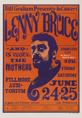 Wes Wilson (American, 1937-2020). <em>[Untitled] (Lenny Bruce)</em>, 1966. Offset lithograph on vellum, sheet: 20 x 14 in. (50.8 x 35.6 cm). Brooklyn Museum, Designated Purchase Fund, 73.39.14. © artist or artist's estate (Photo: Brooklyn Museum, 73.39.14_PS3.jpg)