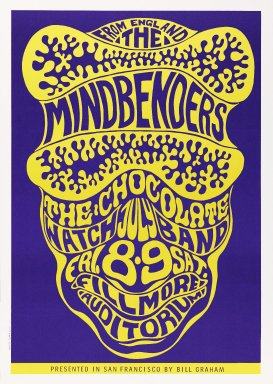 Wes Wilson (American, 1937-2020). <em>[Untitled] (The Mindbenders)</em>, 1966. Offset lithograph on paper, sheet: 19 3/4 x 13 15/16 in. (50.2 x 35.4 cm). Brooklyn Museum, Designated Purchase Fund, 73.39.17. © artist or artist's estate (Photo: Brooklyn Museum, 73.39.17_PS3.jpg)