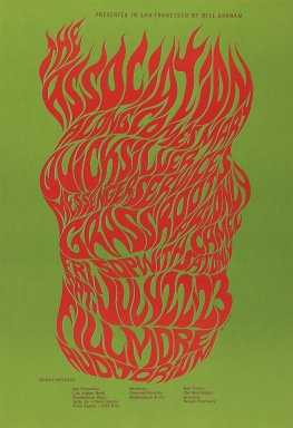 Wes Wilson (American, 1937-2020). <em>[Untitled] (The Association)</em>, 1966. Offset lithograph on paper, sheet: 20 1/8 x 13 7/8 in. (51.1 x 35.2 cm). Brooklyn Museum, Designated Purchase Fund, 73.39.19. © artist or artist's estate (Photo: Brooklyn Museum, 73.39.19_PS3.jpg)