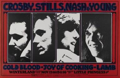 Randy Tuten (American, born 1946). <em>[Untitled] (Crosby, Stills, Nash & Young)</em>, 1969. Offset lithograph on paper, sheet: 14 x 21 7/16 in. (35.6 x 54.5 cm). Brooklyn Museum, Designated Purchase Fund, 73.39.200. © artist or artist's estate (Photo: Brooklyn Museum, 73.39.200_PS3.jpg)