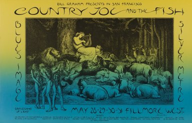 David Singer (American, born 1941). <em>[Untitled] (Country Joe and the Fish...)</em>, 1970. Offset lithograph on paper, sheet: 14 x 21 5/8 in. (35.6 x 54.9 cm). Brooklyn Museum, Designated Purchase Fund, 73.39.230. © artist or artist's estate (Photo: Brooklyn Museum, 73.39.230_PS3.jpg)